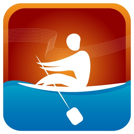 human paddling the boat Stock Vector - 7596932