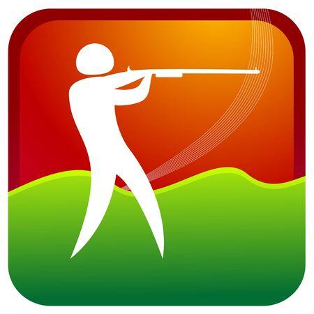 human aiming target with a gun Stock Vector - 7596896