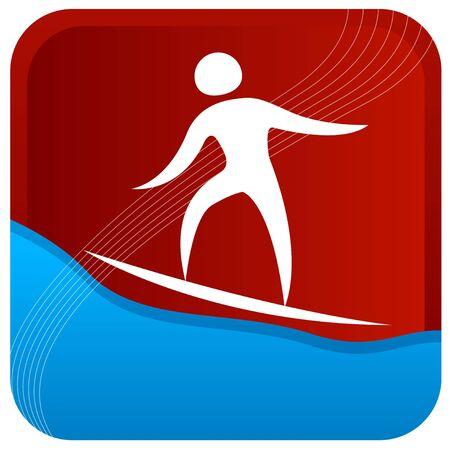 surf board: equilibrio humano sobre una plancha de surf  Vectores