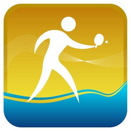tennis de table: homme de frapper la balle de tennis de table jeu Illustration