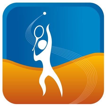 tennis racket: humanos preparando para servir en el juego de tenis