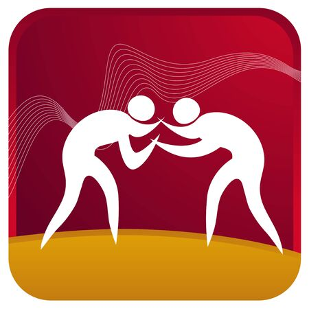 two humans wrestling against each other Vector