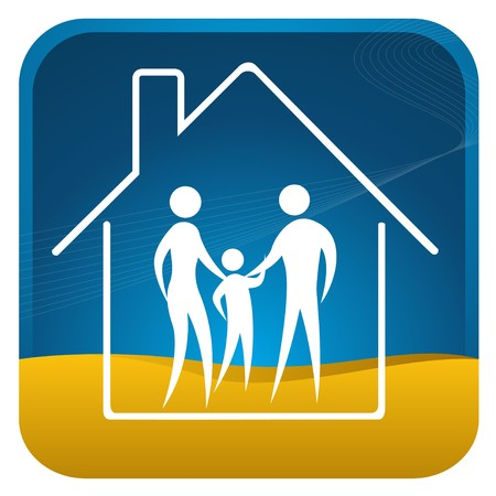 human family shown within home outline Stock Vector - 7596915