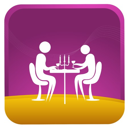 dinner date: coppia umana con cena a lume di candela