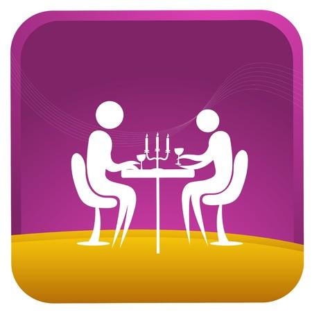amigos comiendo: pareja humana, habiendo cena ligera de vela  Vectores