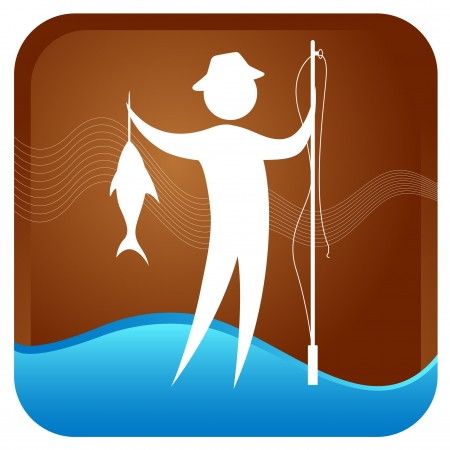 ligne: human standing with fish and fishign rod in hand Illustration