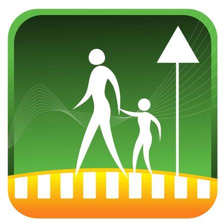 bonhomme allumette: m�re tenant la main de l'enfant tout en traversant la route