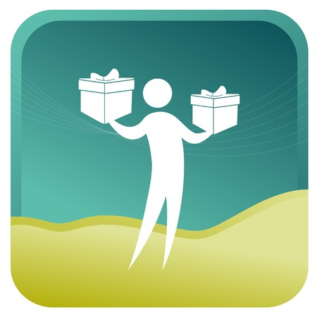 human holding gift boxes in his hands Vector