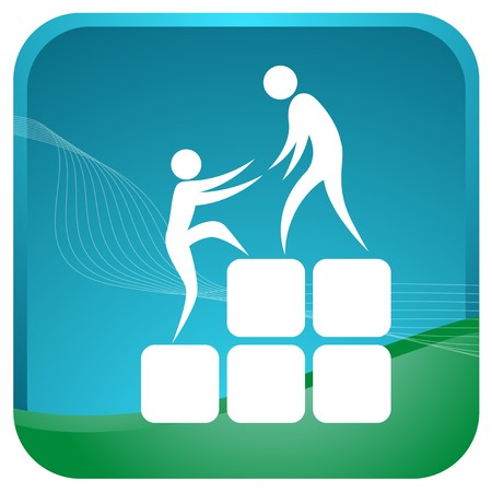 stickmen: human helping each other to climb up the blocks Illustration