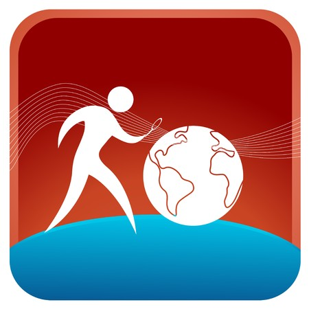 searcher: human using magnifying glass to search the globe Illustration