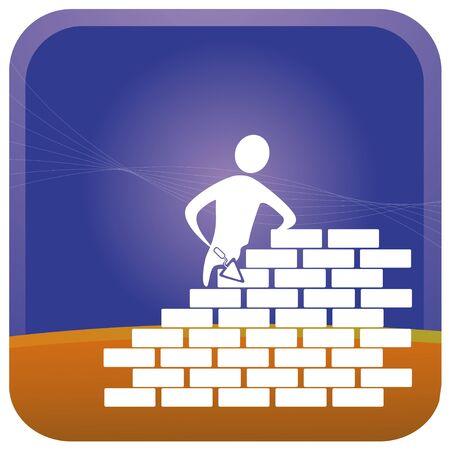 bricklayer: Mason, edificio de ladrillos con herramientas