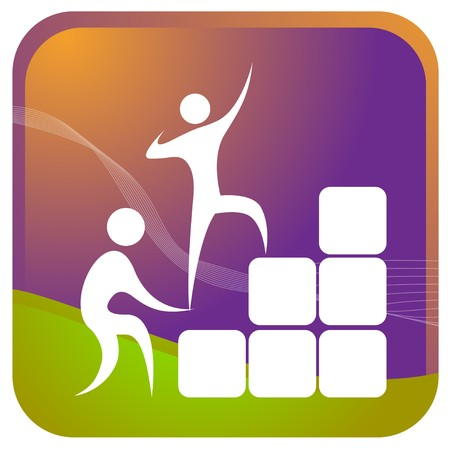 human helping each other to climb up the blocks Illustration