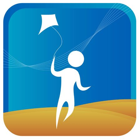 flying man: human having fun flying kite Illustration