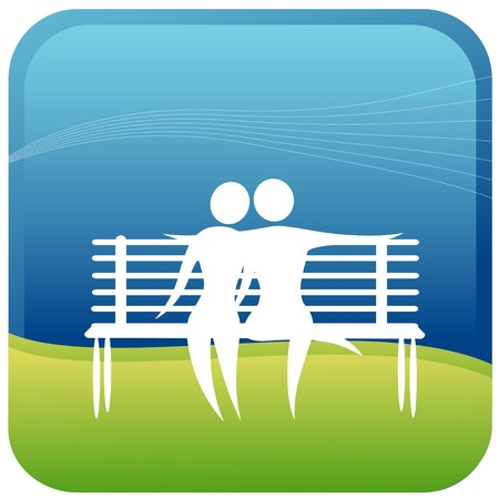 stick out: human couple embracing sitting on a park bench Illustration