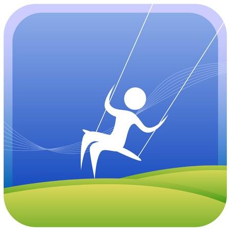 freetime: human having fun on a swing