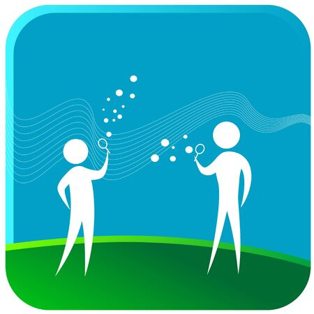 two human blowing water bubble Stock Vector - 7596793