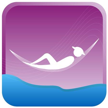 bonhomme allumette: humaine sur une c�t� de la plage hamac