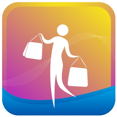 human holding shopping bags in both hands Vector