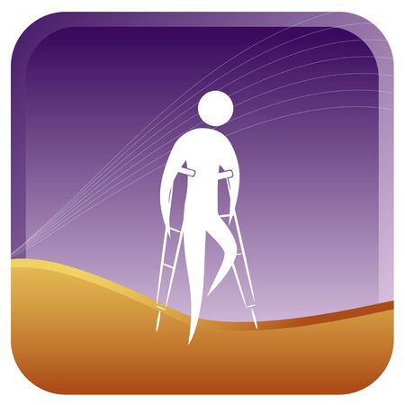 human walking with support of crutches Stock Vector - 7596843