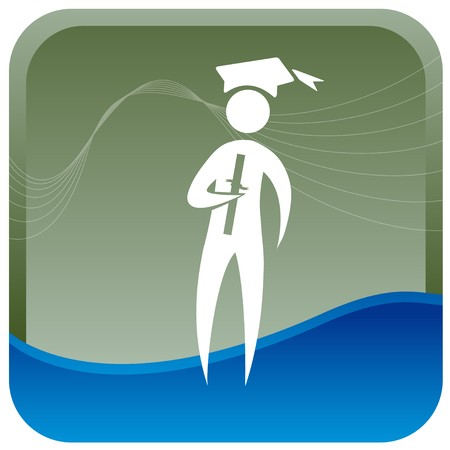 graduate holding degree in hand Vector