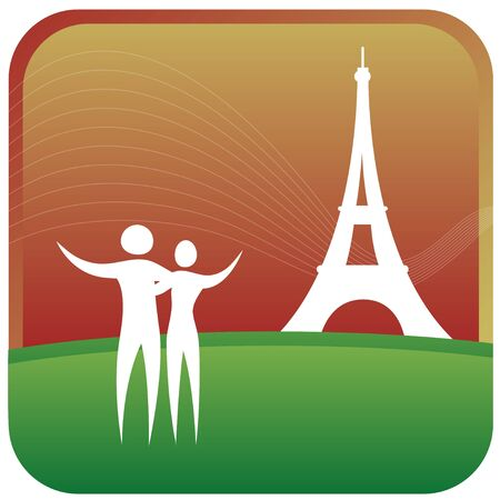 human couple standing in front of eiffel tower Vector