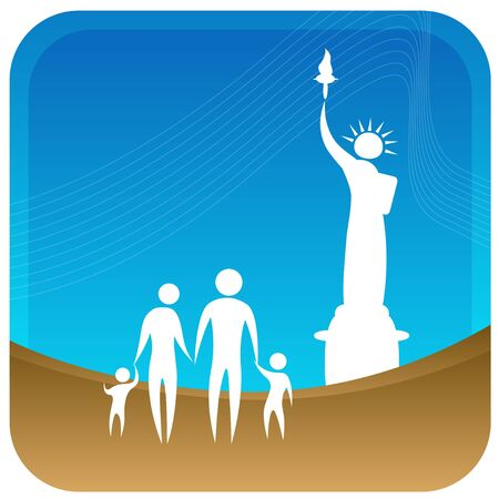 human family standing in front of statue of liberty Stock Vector - 7596935