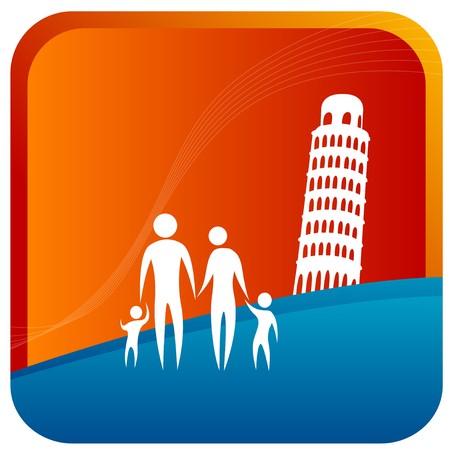 bonhomme allumette: commandes famille humaine en face de la tour pench�e de Pise Illustration