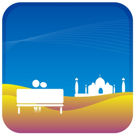 human couple sitting on bench in front of the taj mahal Vector