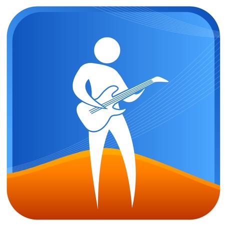 bonhomme allumette: homme jouant une guitare
