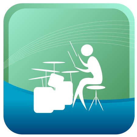 drum kit: human playing the drums with stick Illustration
