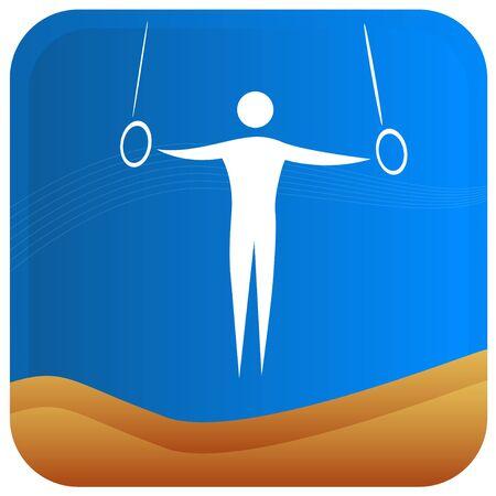 indoor sport: human showing postures of gymnastics