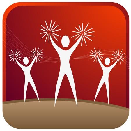 cheer leader: l�deres de alegr�a, animando con puntales de la mano  Vectores