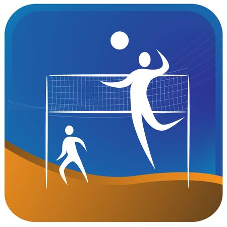 volley ball: two humans playing volley ball game Illustration