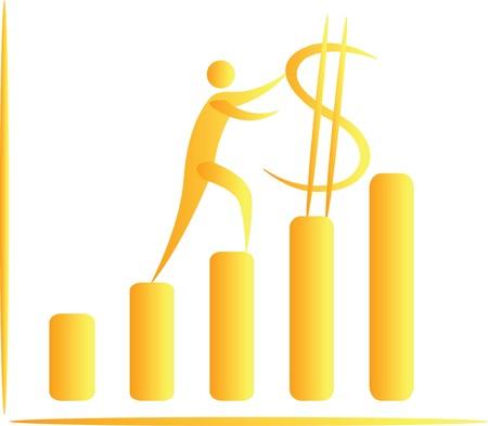 human pushing dollar upwards on a graph bar Stock Photo - 7597052