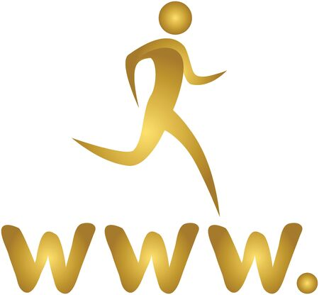 human running on internet www Stock Photo - 7597014