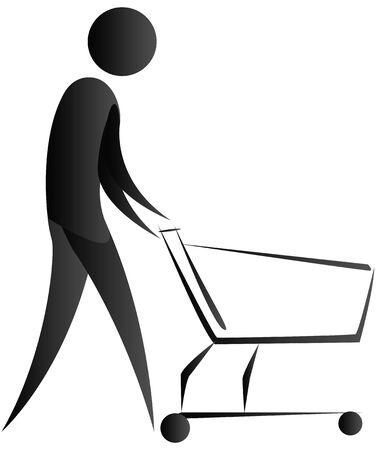 departmental: human pushing a wheel cart