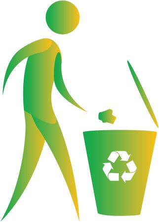 environmental awareness: human throwing paper in recycle bin