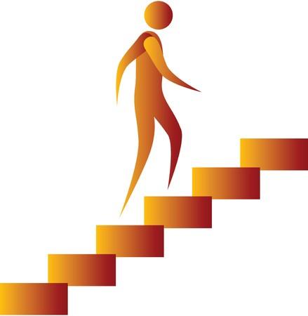 climbing stairs: uomo salire le scale Archivio Fotografico