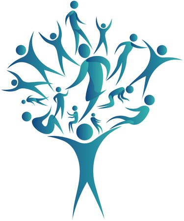humans connected together to form a tree