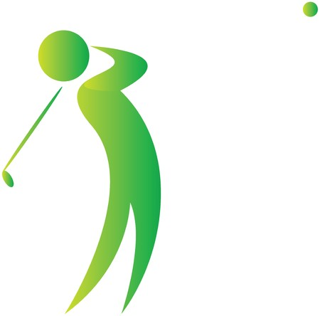 golf stick: golfer swinging the ball with his club