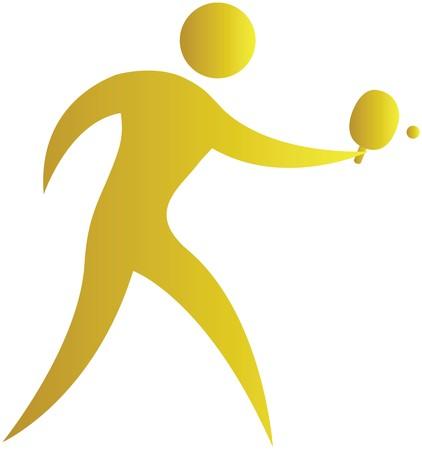 tennis de table: homme de frapper la balle de tennis de table jeu Banque d'images