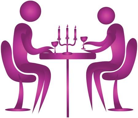 diner aux chandelles: couple humain d�ner l�ger de bougie