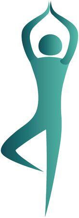 bonhomme allumette: humain debout dans une posture de yoga