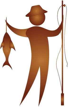 angler: human standing with fish and fishign rod in hand Stock Photo