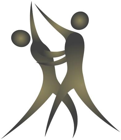 bonhomme allumette: couple humain montrant des postures tout en dansant