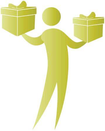 human holding gift boxes in his hands photo