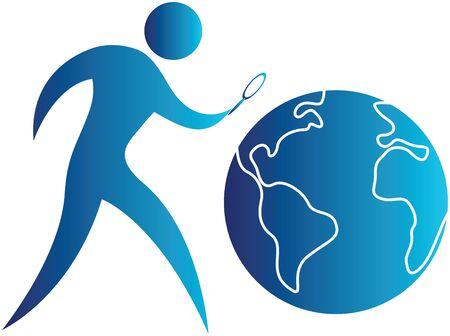 bonhomme allumette: humain en utilisant une loupe pour rechercher le globe