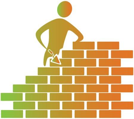 bonhomme allumette: ma�on briques avec des outils de construction Banque d'images