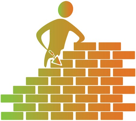 mason: mason building bricks with tools