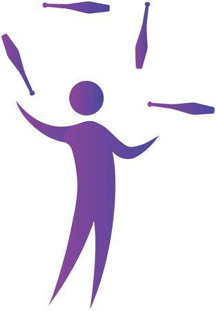 bonhomme allumette: homme de jonglerie avec accessoires